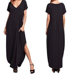 Dresses - Short Sleeve V Neck Maxi Dress